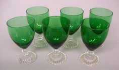 """6 Anchor Hocking Forest Green Early American Bubble 5 1/2"""" Tall 10 oz Goblets"""