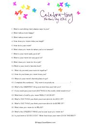 Free Printable Mothers Day Survey for kids to answer questions about their mom.