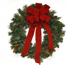 "24"" Pine Christmas Wreath with Red Velvet Bow CR4870"