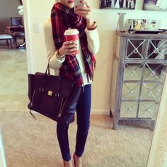 plaid, red heels, and starbucks