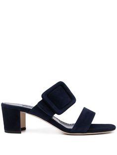Manolo Blahnik Sandali Gable Con Fibbia - Farfetch Blue Sandals, Suede Sandals, Manolo Blahnik, Block Heels, Open Toe, Heeled Mules, Women Wear, Slip On, My Style