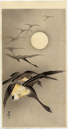 Ohara Koson - Eight White-fronted Geese in Flight; full Moon behind