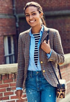 Who better to show off an old-school collegiate blazer (elbow patches and all) than an actual college student? Enter Julia Haywood, a crossword-obsessed Harvard junior who just appeared in our NYFW presentation.