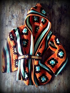 Granny Square Crochet Vintage Hoodie. Love love love this! The colours are fab too. Must make this!