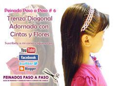 Peinado Paso a Paso # 6 - Trenza Diagonal Adornada con cintas y flores (...