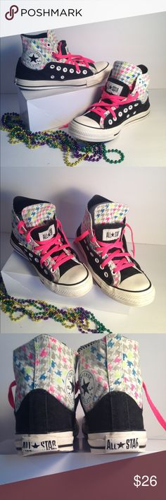 """Converse """"Chuck Taylor"""" Hi Top Sneakers Black w/ Houndstooth design upper. Double tongue. 1 design and other half length that is black. Rubbing off on heel lettering. Men's 6 - Wms 8. Don't be shy... Make me an Offer! Converse Shoes Sneakers"""
