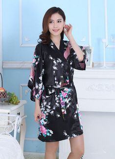 91e3de596764 Hot Peacock Short Women Bridal Bridesmaid Kimono Robe Satin Night Dress  Gown#Women#Bridal