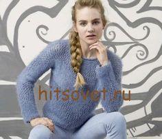 Модная модель женского пуловера нежно голубых оттенков с бесплатным описанием и схемой вязания. Описание - http://hitsovet.ru/krasivyj-pulover-zhenskij/