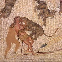 """Leopards kill a Roman criminal in a Tunisian mosaic dating from the 200s CE. Some criminals who were set against predators in the arena were given weapons and expected to fight; others were simply bound and put at the mercy of the animals. The most famous group of """"criminals"""" to be subjected to this punishment was the early Christian church."""