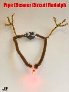 Christmas STEM: Rudolph Pipe Cleaner Circuit - Teach Beside Me #STEM #reindeer #vbcforkids #kids