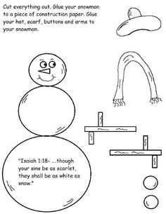 Snowman Cutout Sheet For Sunday school