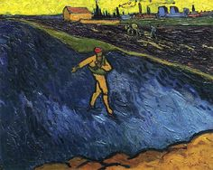The Sower Outskirts of Arles in the Background - Vincent van Gogh