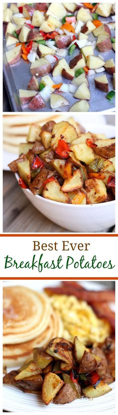 These are the best Breakfast Potatoes Ever! So easy to make and roasted with bell peppers and onion.