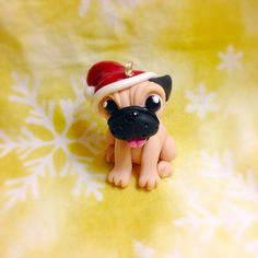 Handmade+polymer+clay+Pug+christmas+ornament+by+TempiesMenagerie