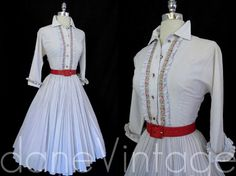 Vtg 50s 60s accordion pleat Fit Flare Rockabilly Bombshell Day Party Dress xs/S | eBay