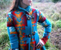 Turquoise Shawl Collar Navajo Pendleton Blanket Coat