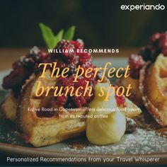 Have your next brunch at Kavhé Road in Cape Town. A recommendation from our member William! For more similar recommendations, be sure to check out www. Brunch Spots, Cape Town, Traveling By Yourself, Yummy Food, Ethnic Recipes, Check, Delicious Food, Good Food