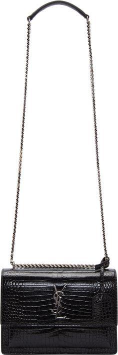 •Website: http://www.cuteandstylishbags.com/portfolio/saint-laurent-black-patent-croc-embossed-medium-monogram-sunset-satchel/ •Bag: Saint Laurent Black Patent Croc-Embossed Medium Monogram 'Sunset' Satchel