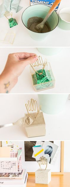 How to Make a Modern DIY Desk Accessory for Storing Notes and Photos - How to make a modern DIY desk accessory with concrete. Instructions for making one from scratch or - Craft Desk, Diy Desk, Diy Arts And Crafts, Diy Crafts, Diy Christmas Presents, Bedroom Crafts, Craft Projects For Kids, Diy Photo, Desk Accessories