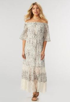 Cato Fashions Wild Meadow Off the Shoulder Maxi Dress #CatoFashions