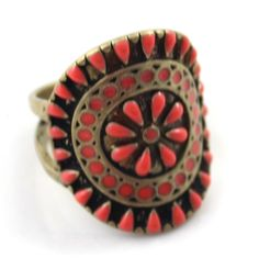 Vintage Inlaid Gem Royal Flower Oil Pattern Rings for Party