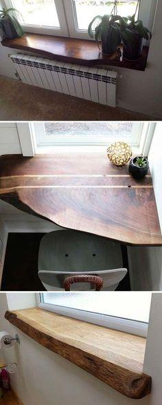 Window Ledge Shelf - Top 20 Cool Decorating Ideas with Live Edge Wood