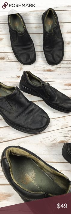 Men's MERRELL Black Leather Slip On Grip Shoes 13 Men's MERRELL Black Leather Slip On Grip Sportsman Performance Footwear Shoes 13. Excellent gently loved condition, no flaws. Soles in great shape, super comfy. Merrell Shoes Loafers & Slip-Ons