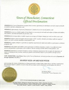 Manchester, CT - Mayoral proclamation recognizing Diaper Need Awareness Week (Sept. 26 - Oct. 2, 2016) #DiaperNeed www.diaperneed.org