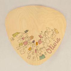 Mesa infantil de madera, mesa auxiliar Miss T Up in the air personalizable con nombre, para niños