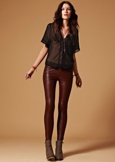 Sexy chocolate leather leggings, gypsy style sheer blouse and stacked ankle boots. Simple edgy boho outfit. Joveeba.