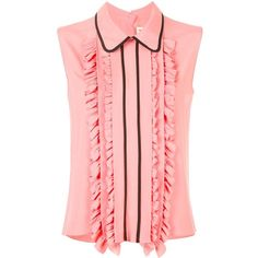 Marni ruffle trim sleeveless blouse ($895) ❤ liked on Polyvore featuring tops, blouses, pink, red sleeveless top, red ruffle blouse, ruffle blouse, red top and frilly blouse