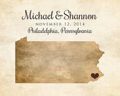 Pennsylvania Map, Any Map -  Custom Map Art, Wedding Gift, Wedding Location - Engagement, Anniversary, Rustic, Brown, Philadelphia