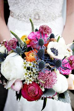 white peonies and blue thistle bouquet