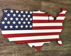 Hölzerne USA Flagge Karte Kunst große Landkarte von HavenAmerica