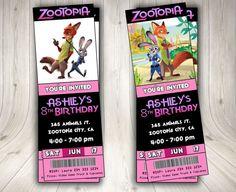 ZOOTOPIA invitación cine ticket de Zootopia por DecorationsLeon