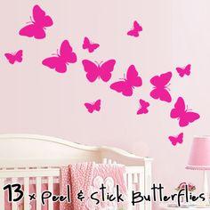 BUTTERFLY Wall Art, 13 Butterfly Stickers Butterflies Girls Room Childrens decal