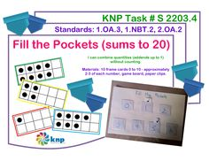 """Fill the Pockets (sums to 20)"" - Combine quantities (addends up to 1) without counting. Supports learning Common Core Standards: 1.OA.3, 1.NBT.2, 2.OA.2 [KNP Task # S 2203.4]"