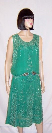 1920's Viridian Green Beaded Gown with Clear Paste Accents