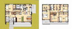 ファミリークロークのある大家族の家夫婦とおじいちゃんおばあちゃんがいて子供3人の7人家族広い敷地があったなら、個々の収納スペースが、1階と2階にある理想の間取りです。   間取り図【間取り】1F:LDK ファミリークローク シューズクローク 家事室 洋室     トイレ 洗面脱衣室 浴室 階段下物入 2F:LDK 主寝室 子供室2 ワークル Japanese House, House Layouts, House Plans, Brick, Floor Plans, How To Plan, Space, Architecture, Home Decor