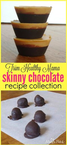 Trim Healthy Mama Skinny Chocolate is a fabulous basic recipe that can be used to make many healthy chocolate desserts - check out these recipes that use skinny chocolate! #HealthyChocolateRecipe