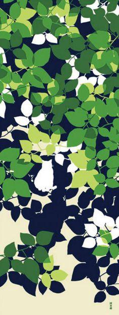 Japanese Tenugui Towel Cotton Fabric, Summer Tree Leaf + Cat, Hand Dyed Animal Print Fabric, Home Decor Wall Art, Cute Cats Decor Gift, JapanLovelyCrafts