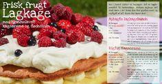 Frisk frugt Lagkage med hjemmelavet kagecreme og flødeskum