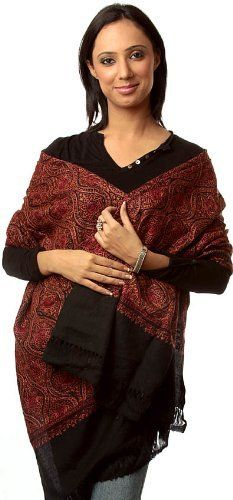 Exotic India Black Semi-Pashmina Kashmiri Stole with Intricate Jamdani Embroidery by Hand - Black Exotic India. $365.00