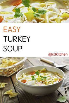 Made with turkey, water, celery, frozen mixed vegetables, chicken broth, poultry seasoning, black pepper, elbow macaroni or bowtie pasta | CDKitchen.com