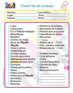 Checklist para fiesas infantiles