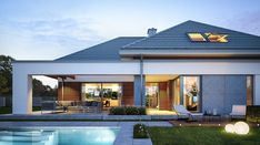Hiacynt - zdjęcie 2 Modern Pool House, Modern Family House, Modern Bungalow House, Bungalow House Plans, Simple Bungalow House Designs, House Plans Mansion, Dream House Plans, Beautiful House Plans, Model House Plan
