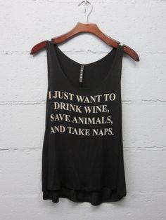 Drink Wine Save Animals Take Naps Graphic Tank by BohoSheShack