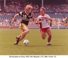 Sting's Pato Margetic and Earthquakes' Mike Hunter in a 1982 game at Chicago's Wrigley Field