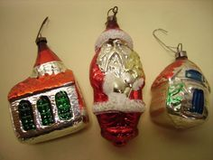 I loved our Christmas Ornaments...these Vintage shaped glass Christmas tree beauties are sample of the ones on our tree each year.....Our tree had a glass Santa , feathered and life-like red birds, and  clear snow-flake bulbs for decorating. We never left even one of the keep sake treasures off the tree...all were precious and tradition for the family.