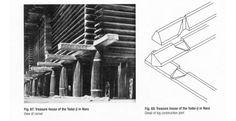 Left: Treasyre House of the Todai-ji in Nara (vew of corner). Right: Treasyre House of the Todai-ji in Nara (detail of log construction joint)